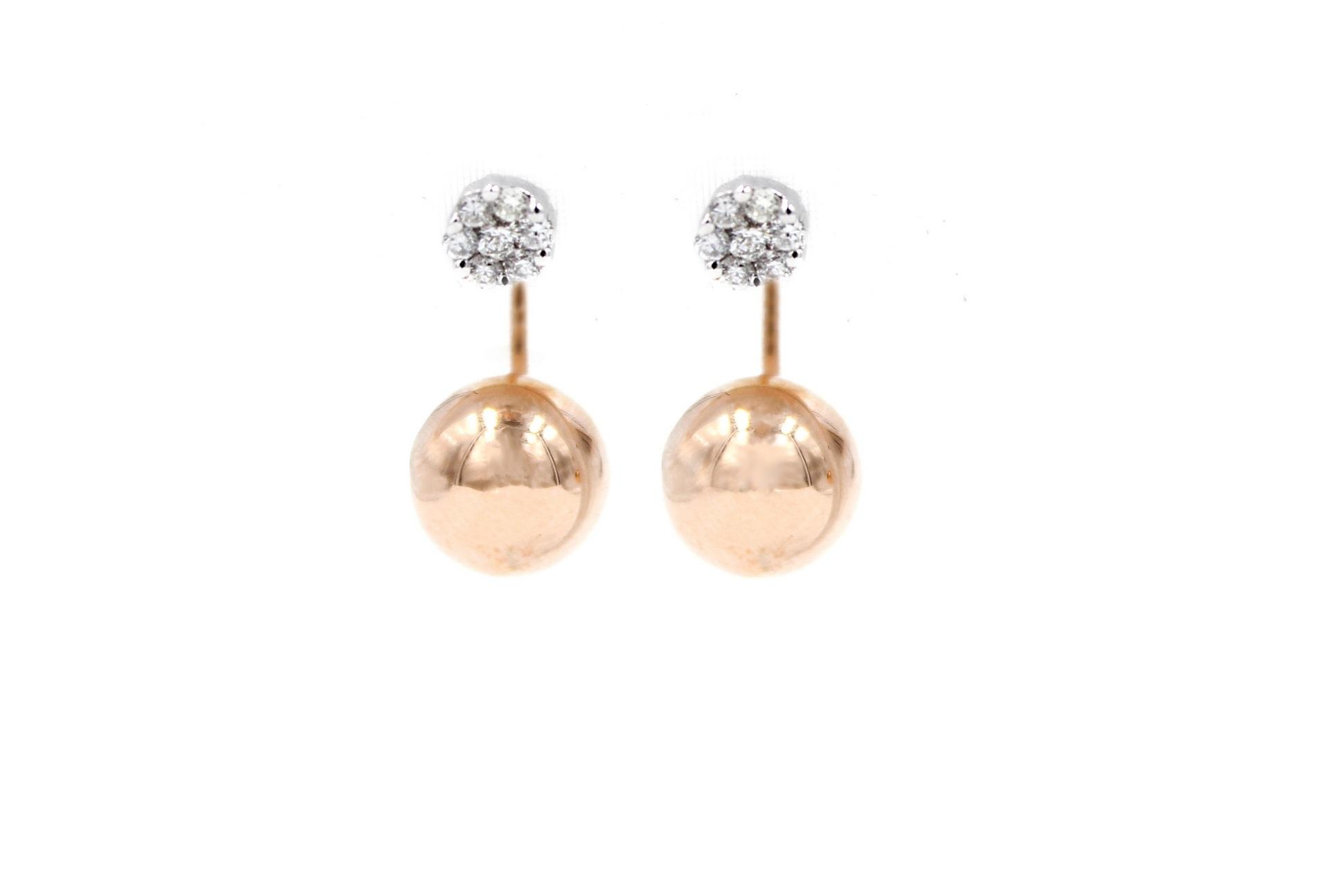 Curved Golden Globe Sphere Diamond Earrings