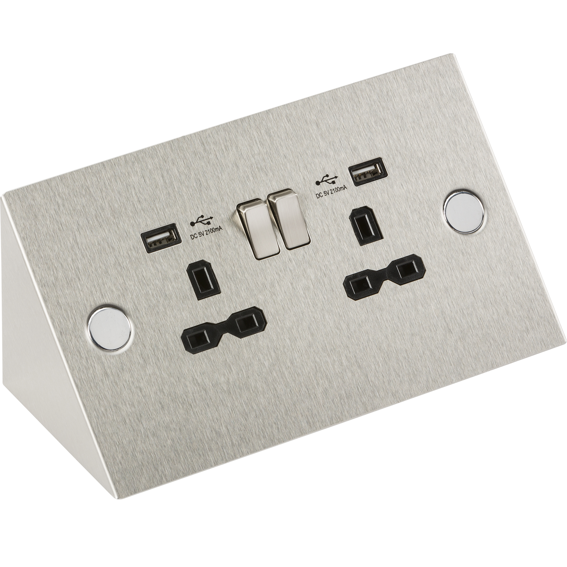 13A 2G mounting socket with dual USB charger 5V DC 2.1A (shared)