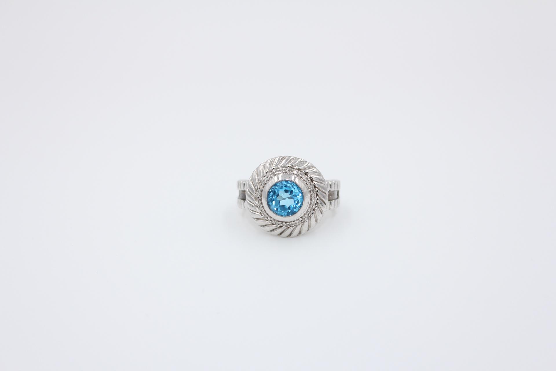 Silver Blue Topaz & Diamond Ring