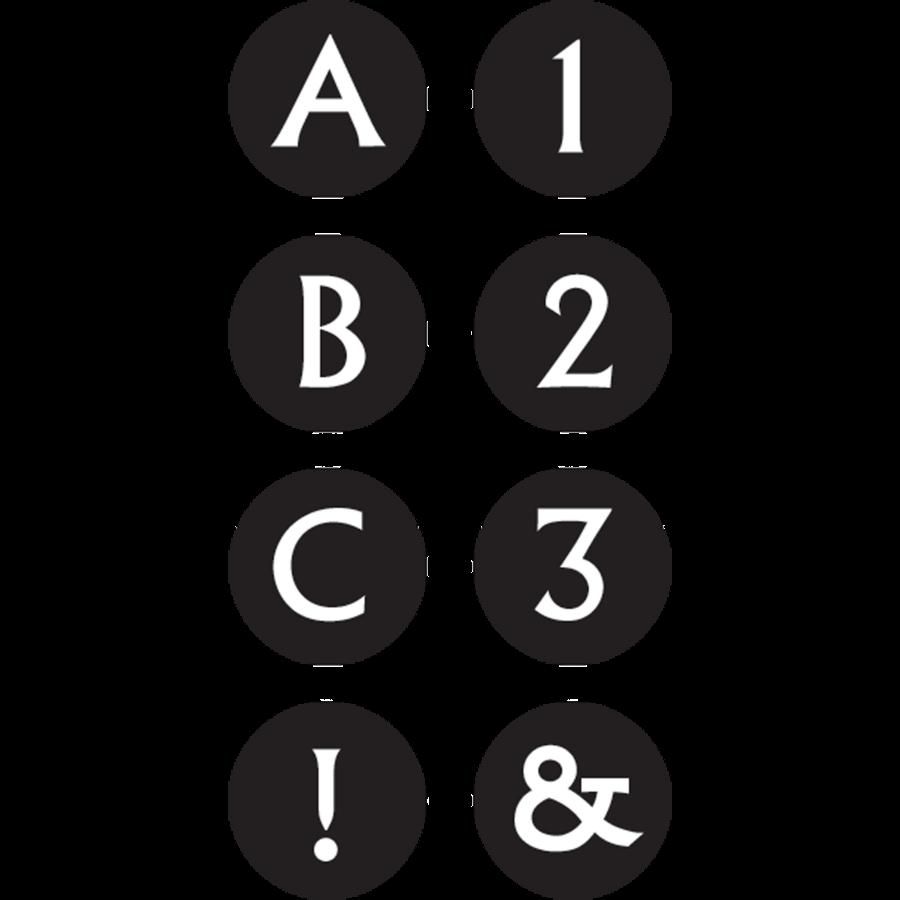 TCR 2142 BLACK/WHITE ALPHABET MINI STICKERS
