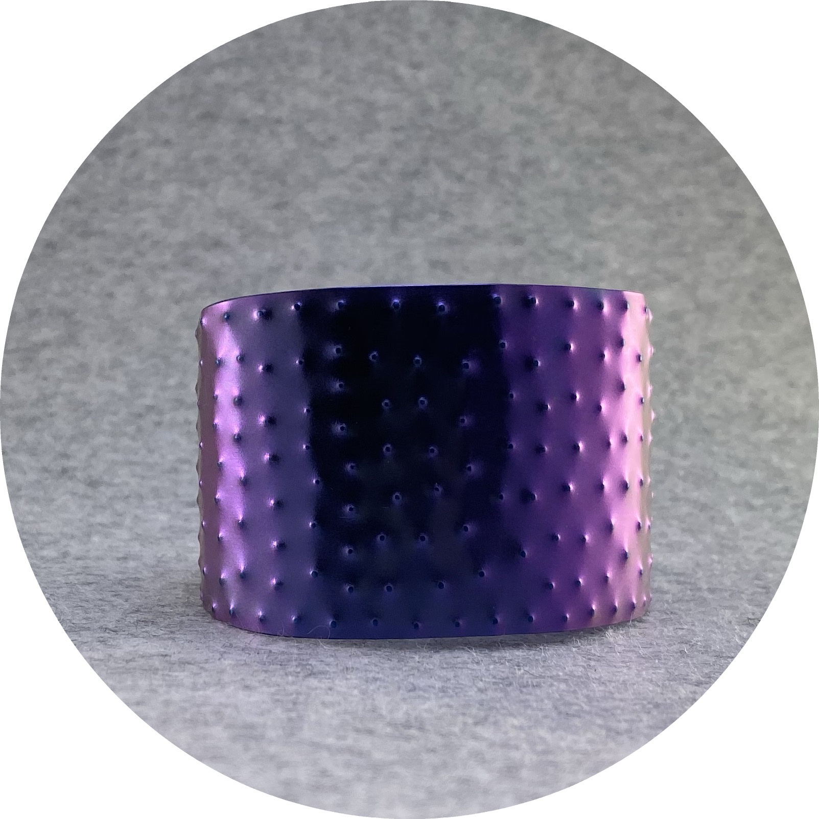 Amanda Croatto- Cuff. Purple and blue textured, anodised titanium. 4cm wide.
