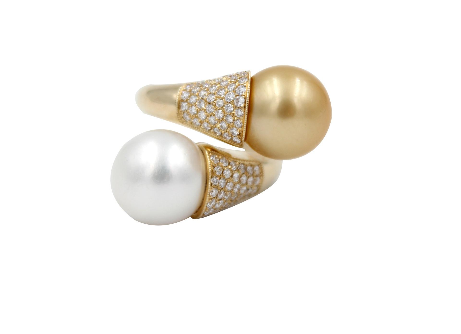 Golden Silver South Sea Pearls & Diamond Ring