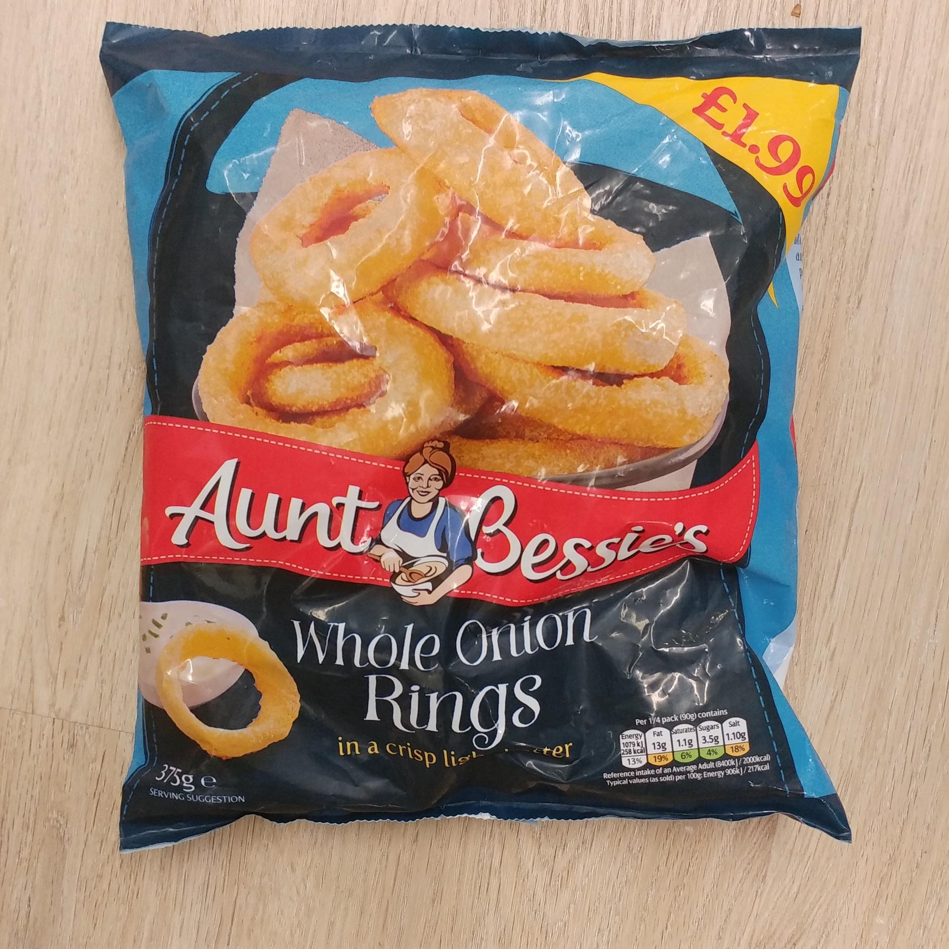 078209080777 Aunt Bessie Onion Rings - 375g