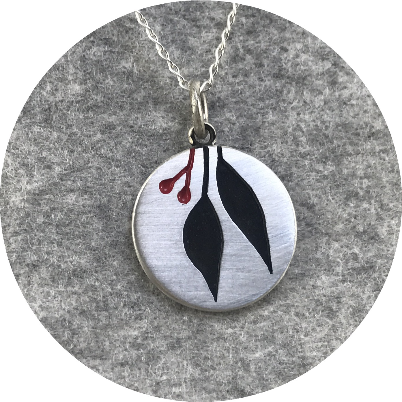 Emma Kidson - Small Gum Leaf Necklace in Sterling Silver and Two Tone Enamel
