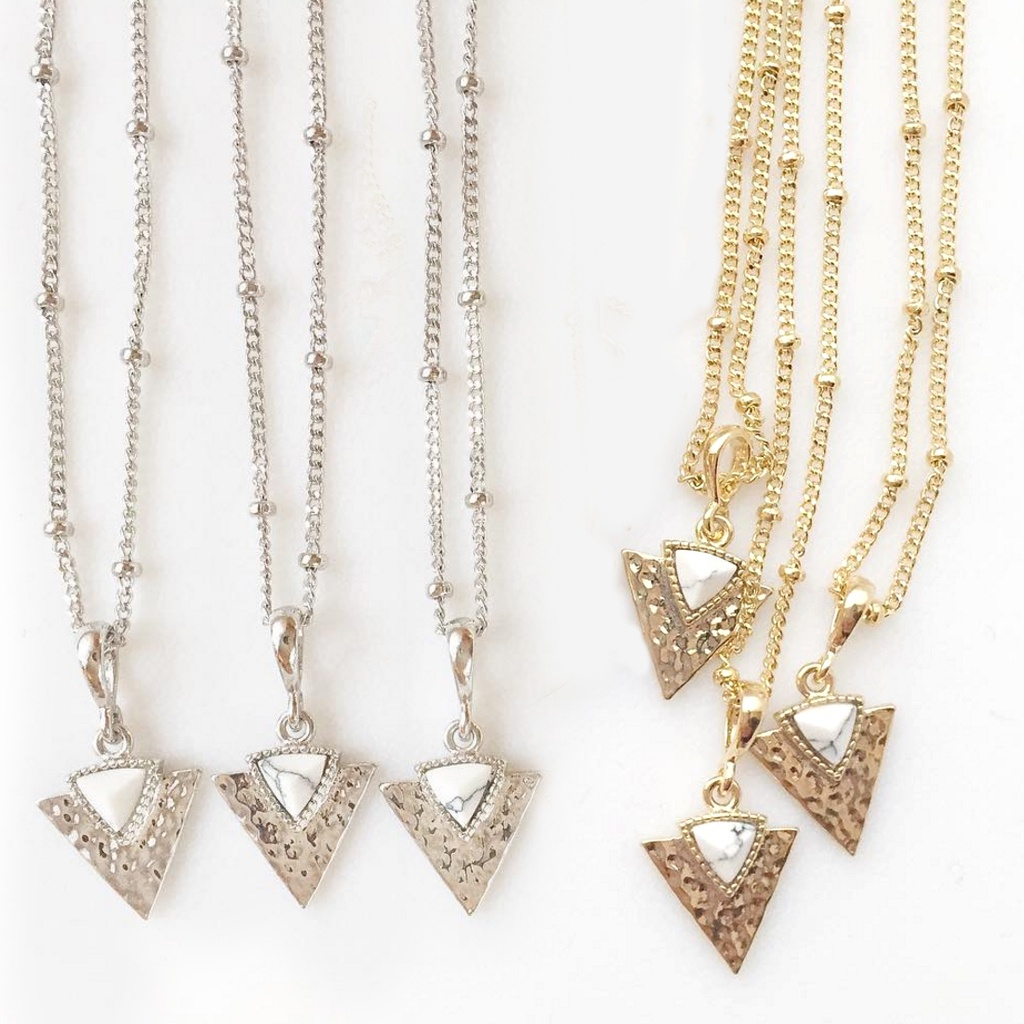 White Marble Triangle Necklace