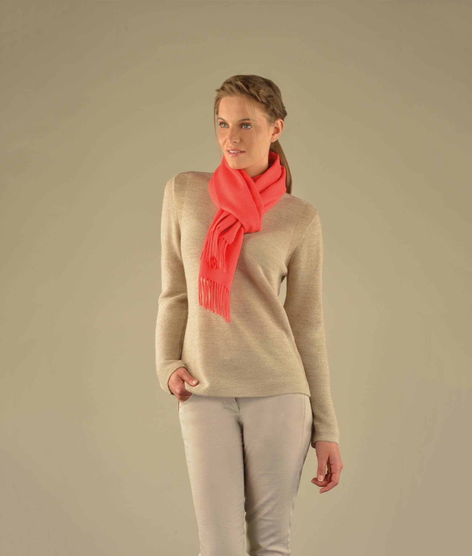 LONG BRUSHED SCARF CORAL RJ12958