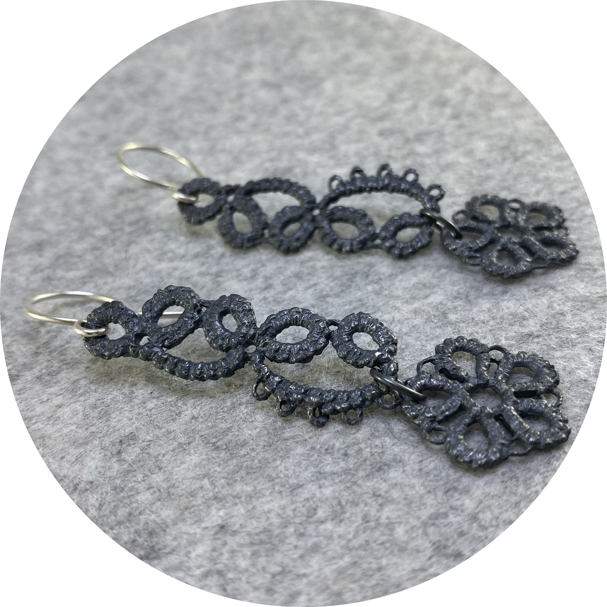 Pamela Camille- Tatted 5 petal flower and lace strip drop earrings. sterling silver.