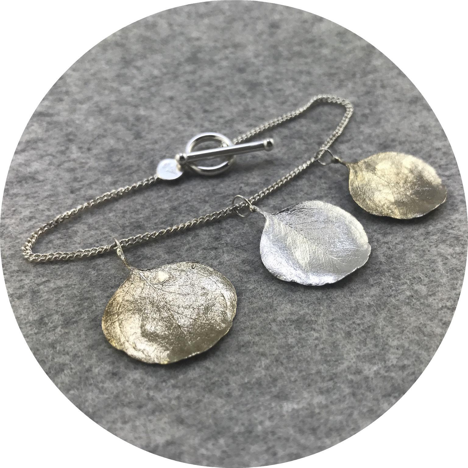 Abby Seymour- Silver Dollar Gum Bracelet. Brass and Sterling silver.