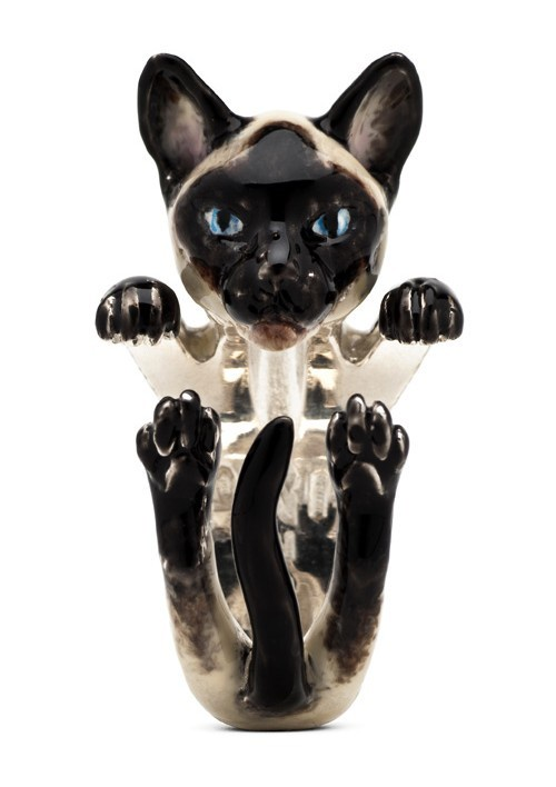 Siamese Cat Enamelled Sterling Silver Hug Ring