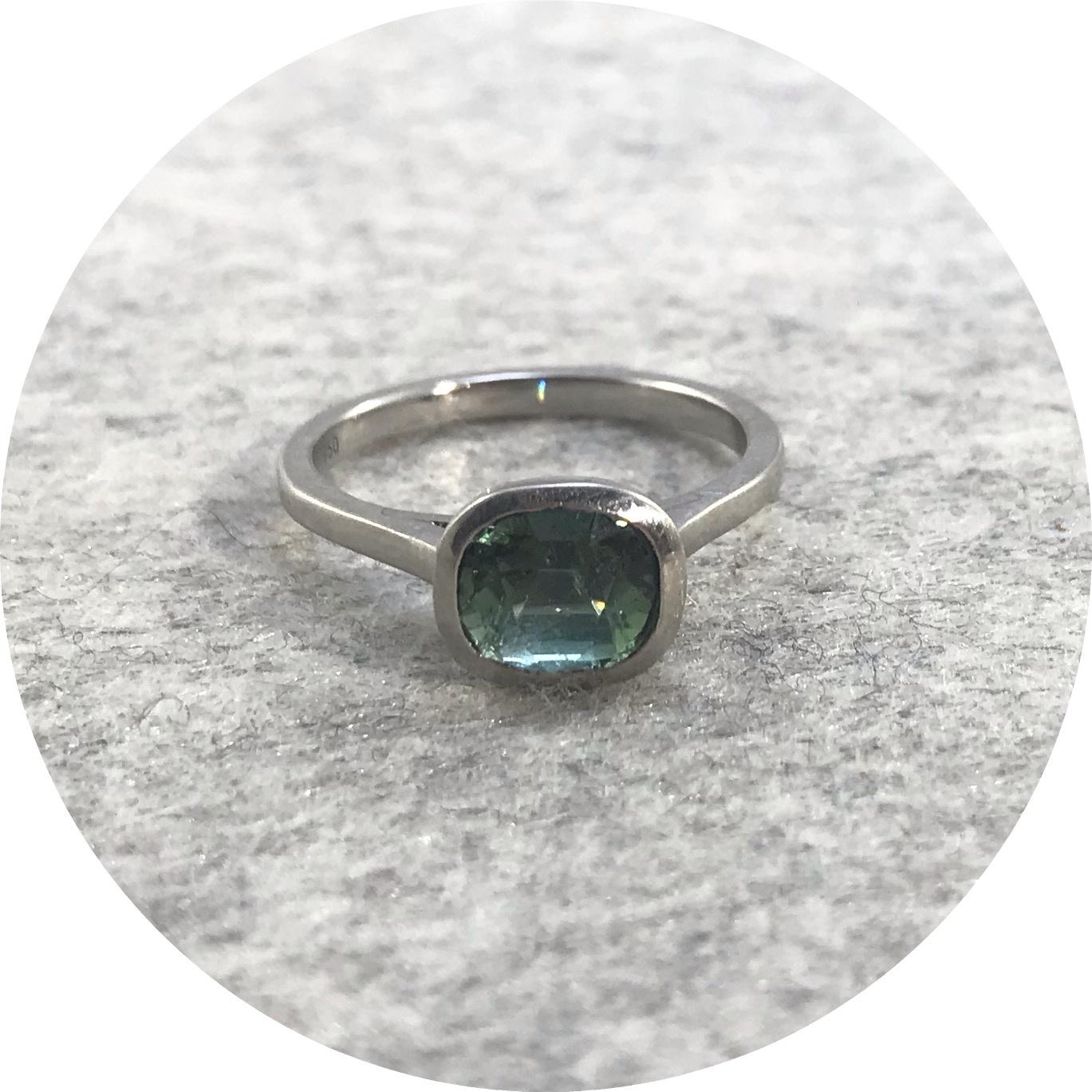 Katie Shanahan - Platinum and Green Tourmaline Ring