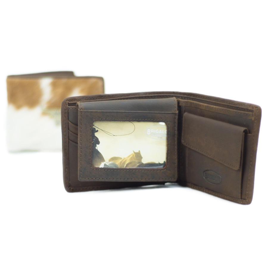 Leather mens wallets Brigalow 5001-A New Wallet Longhorn Brown Hair On -