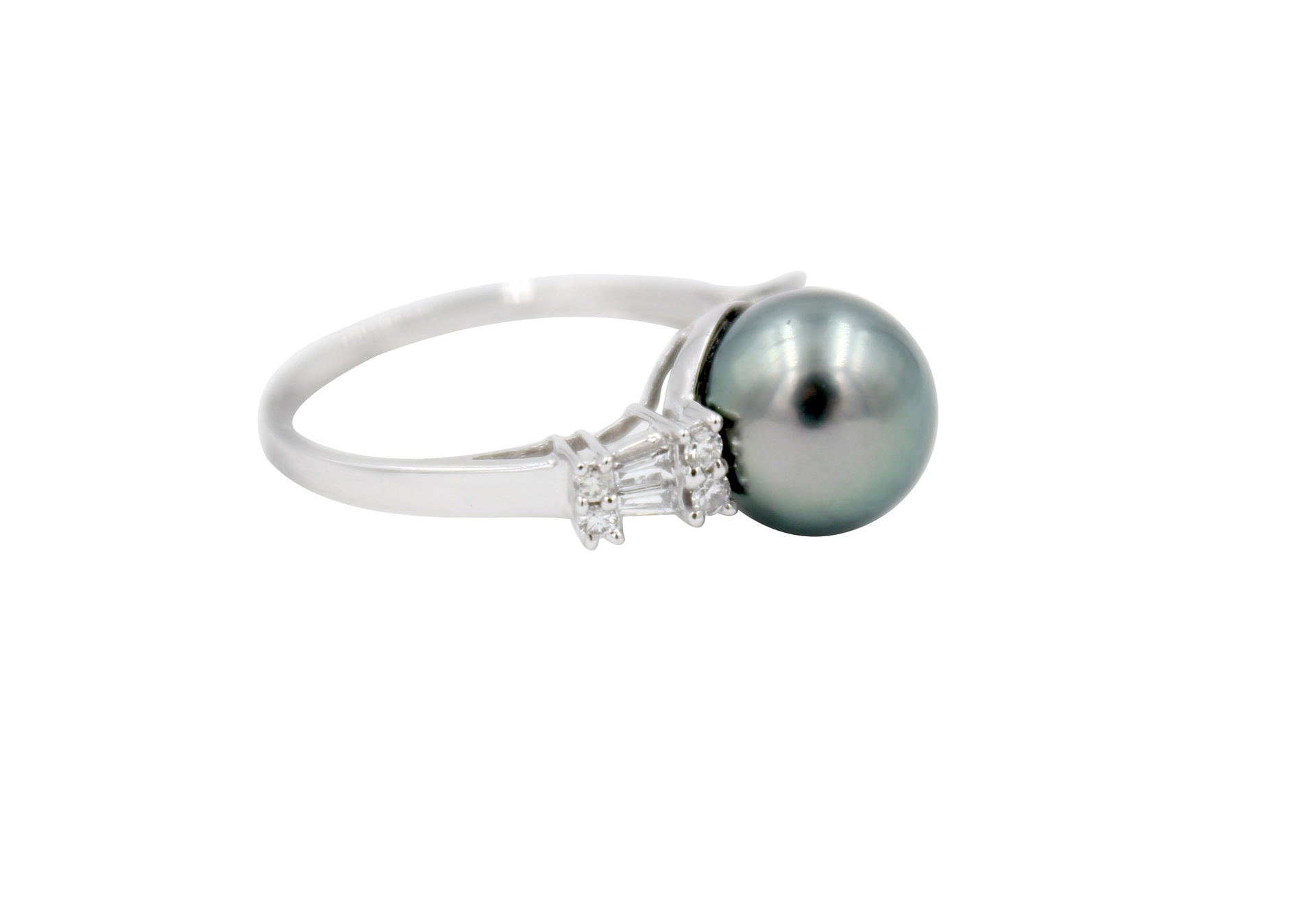 Diamond & Dark Tahitian Pearl Rectangular Ring