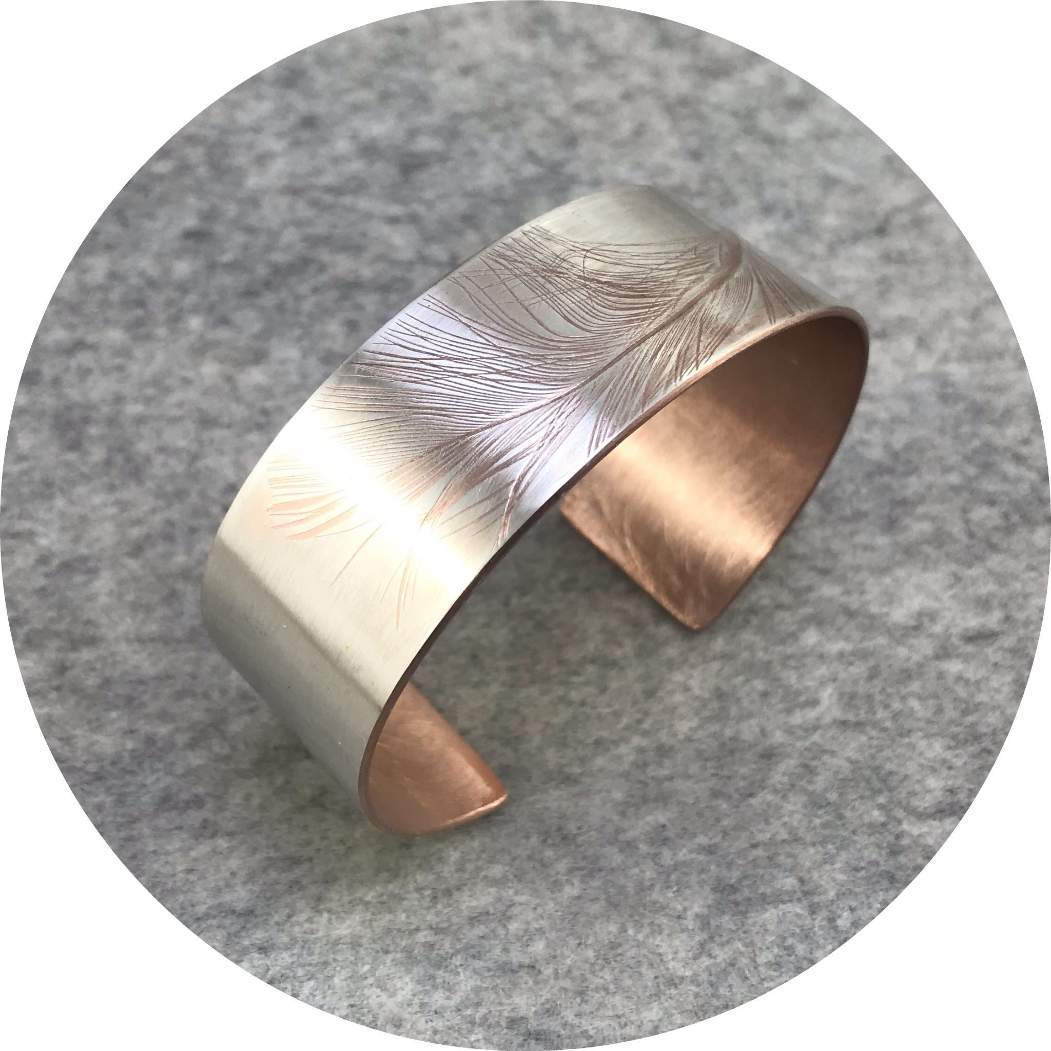 Claire Taylor - 'Feather Cuff', 925 silver, rose gold plate