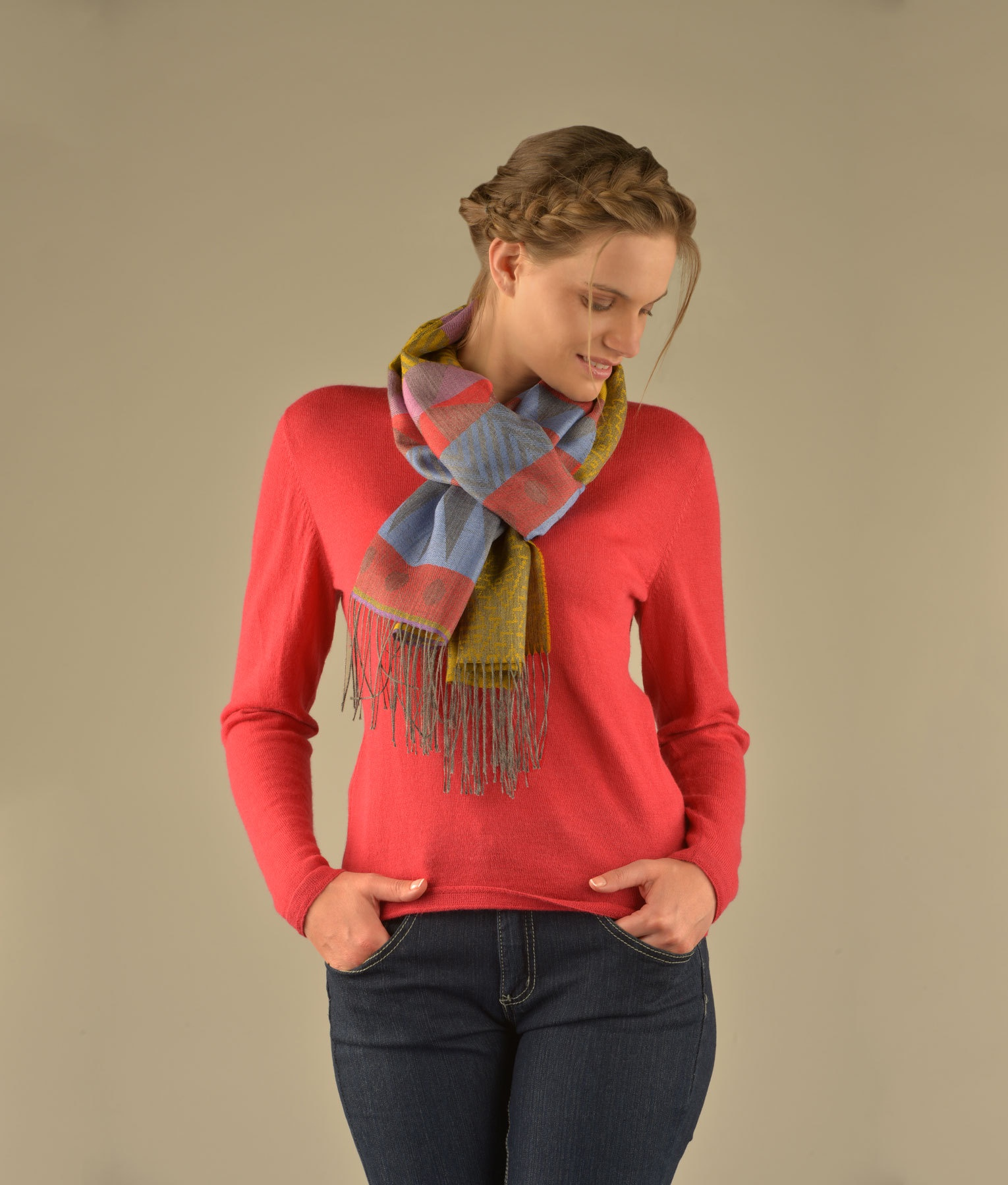 THEN AND NOW PATTERN SCARF C002