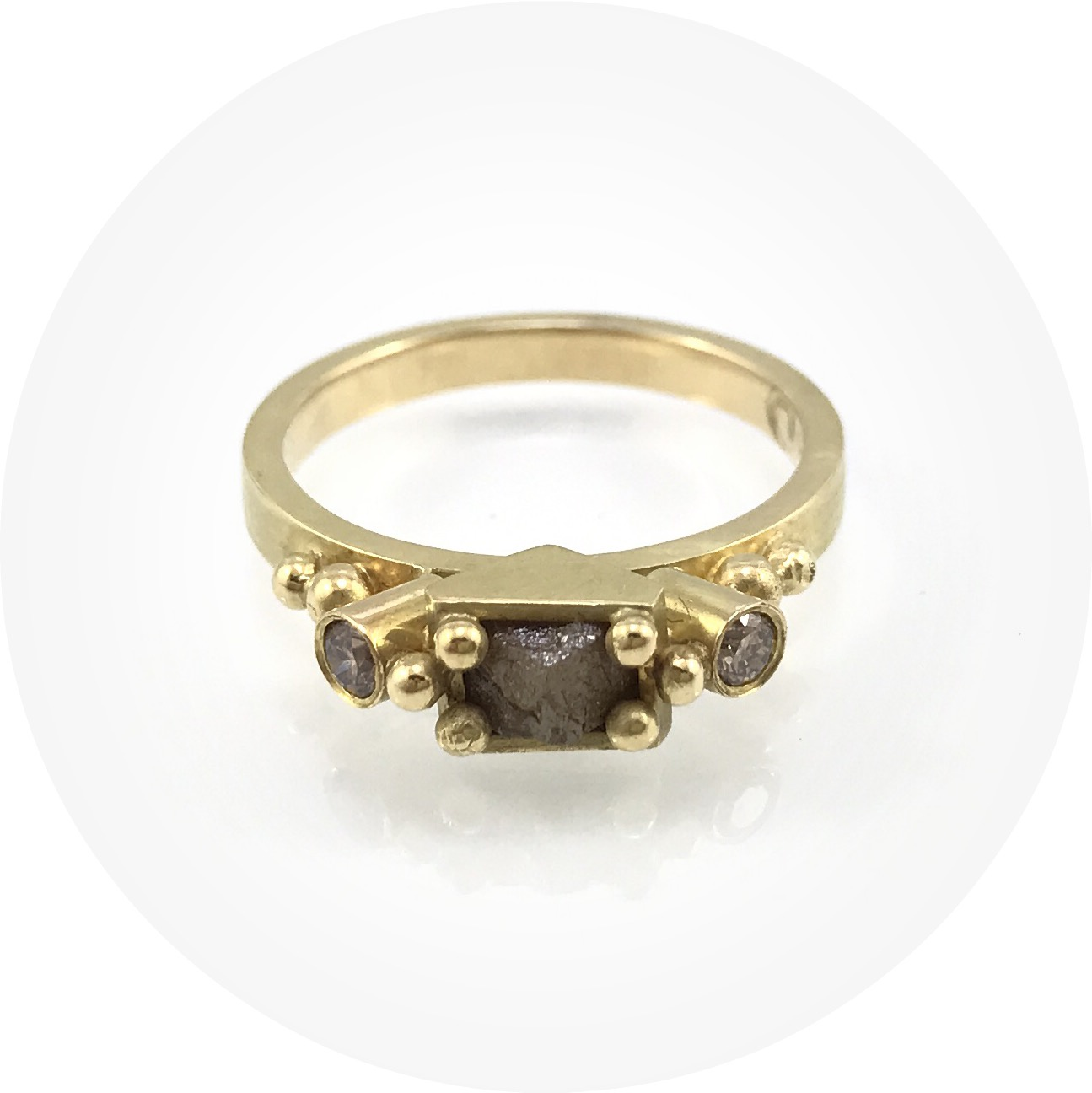 Susan Ewington - Rough diamond and champagne diamond granule ring in 18ct yellow gold