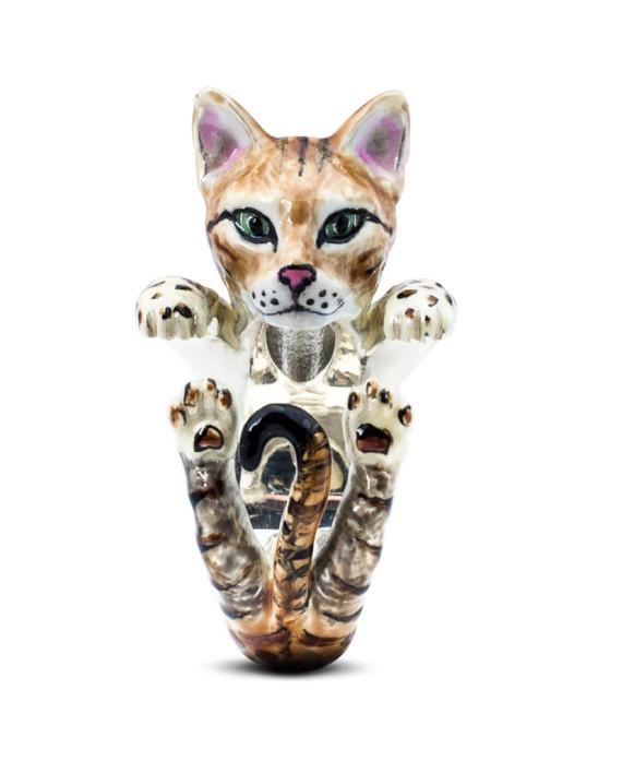 Bengal Cat Enamelled Sterling Silver Hug Ring