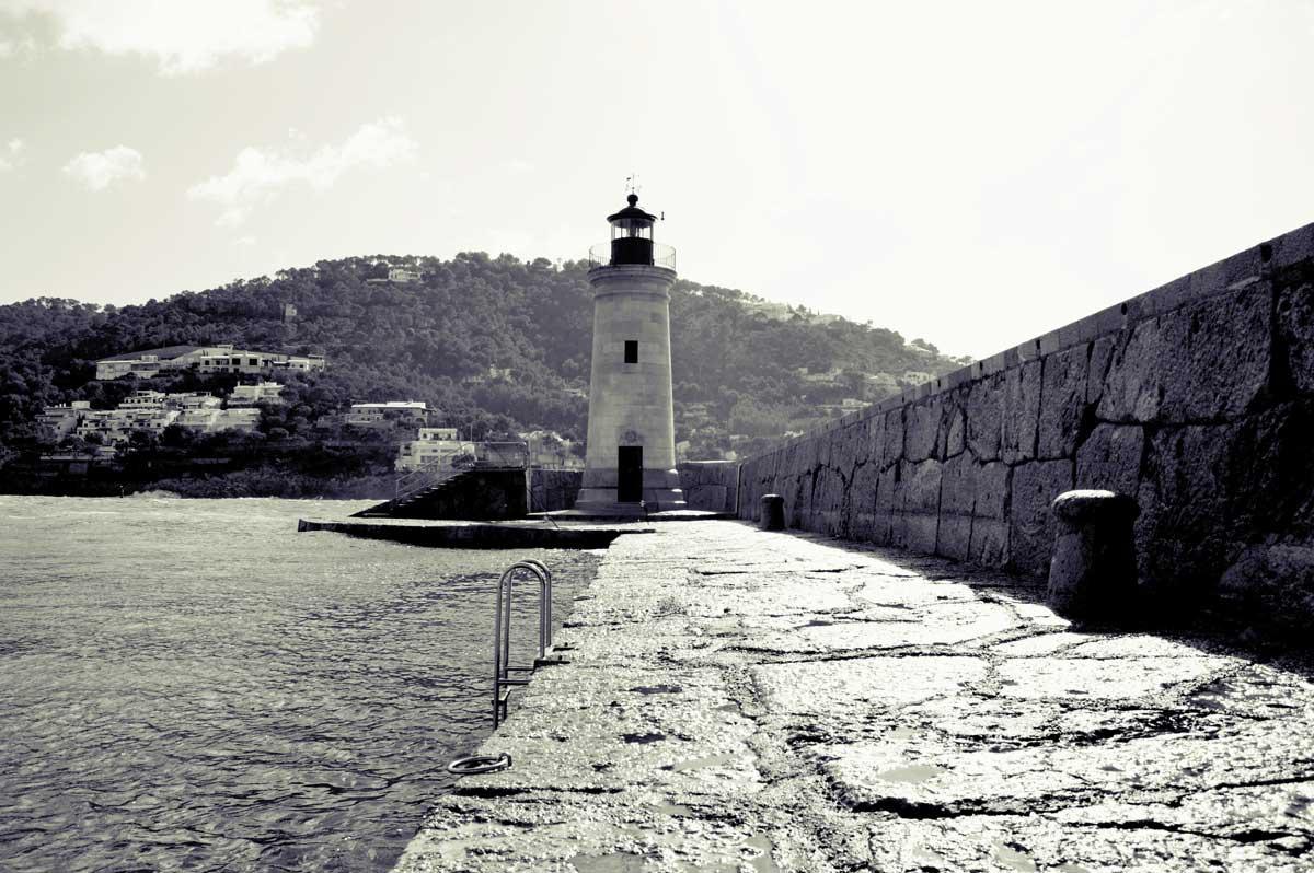 Andratx Lighthouse Black & White