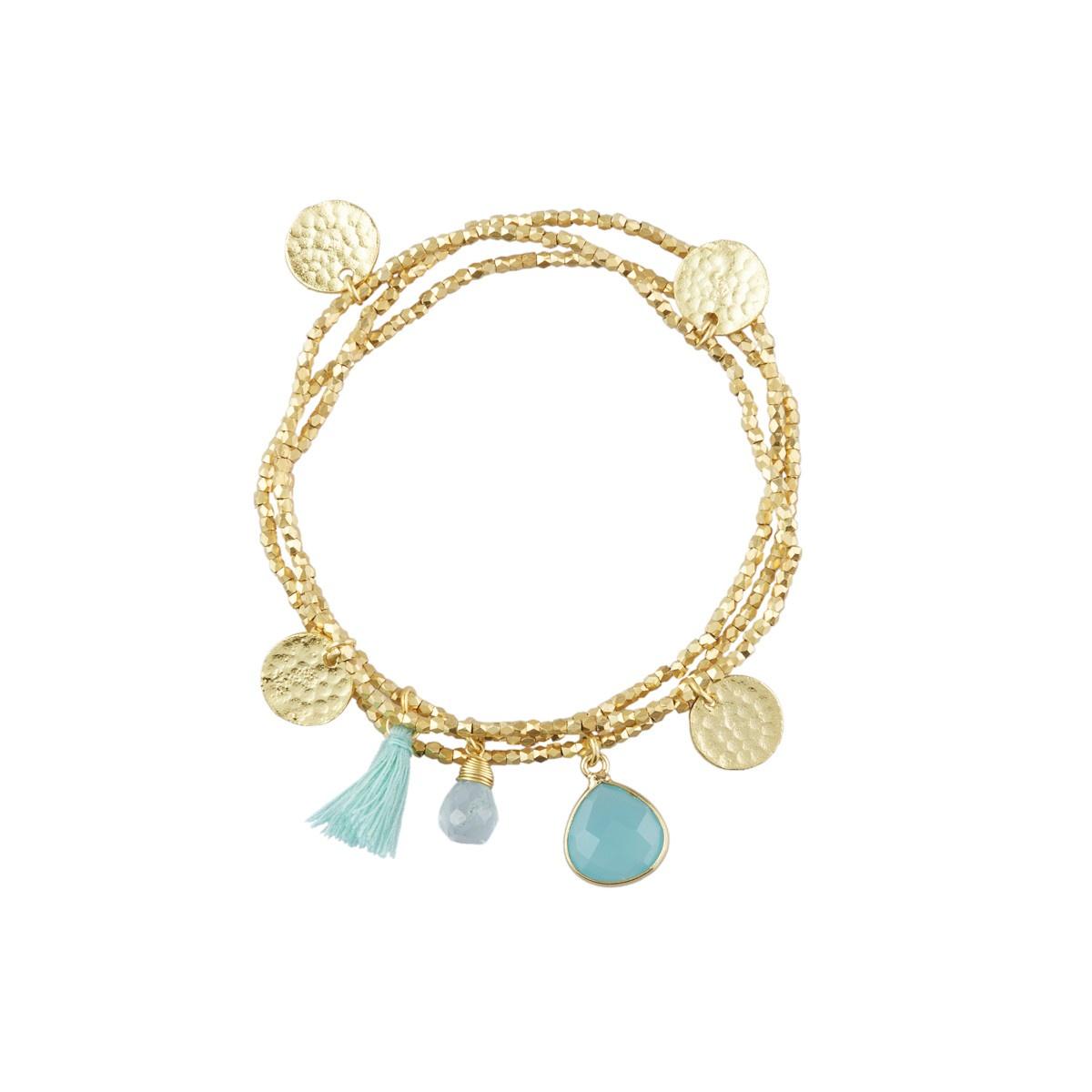 Gemini Charm Bracelet with Aqua Chalcedony Gemstones by Ashiana London