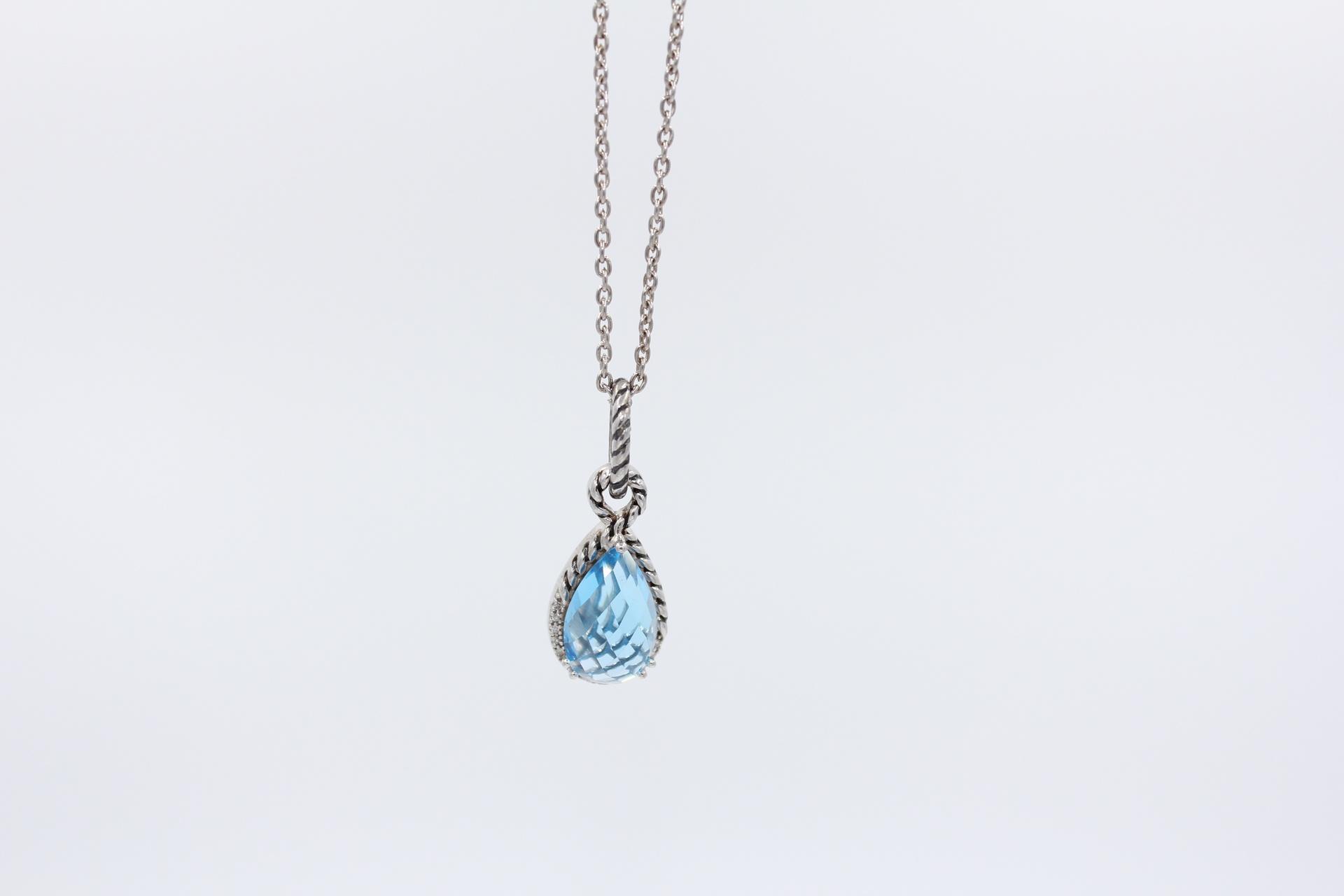 Silver Blue Topaz & Diamond Pendant