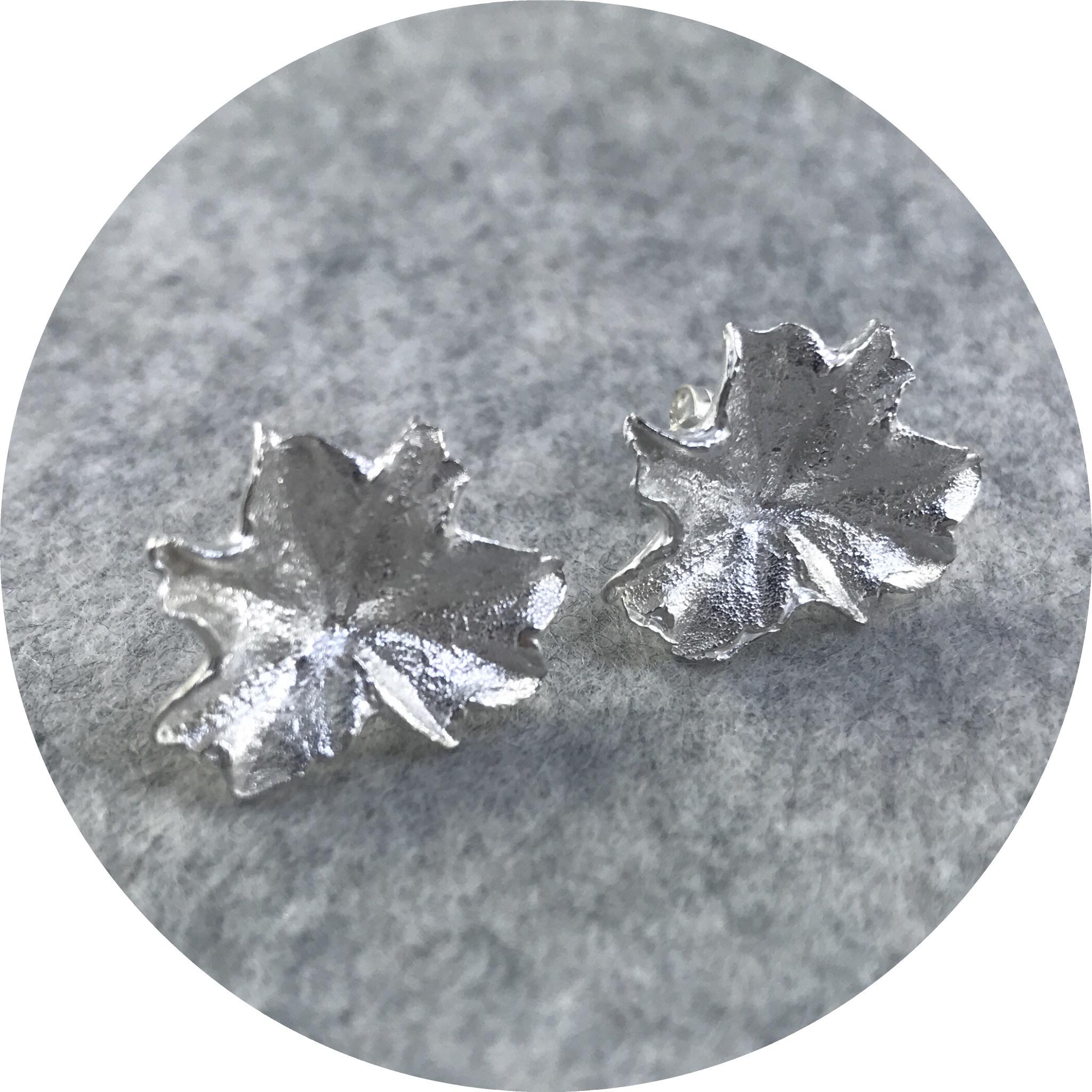 Manuela Igreja- Geranium leaf studs. sterling silver.