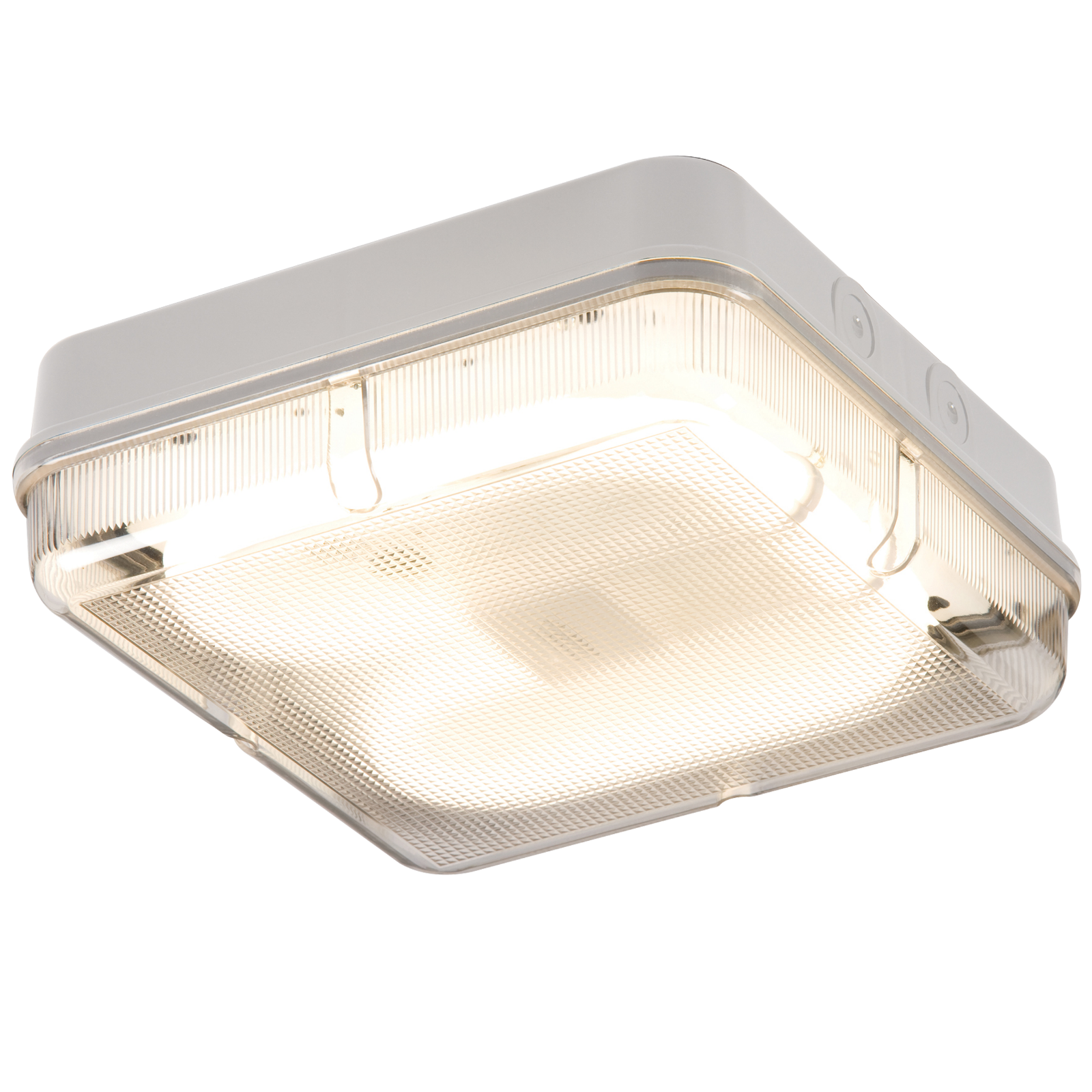IP65 28W HF Square Bulkhead with Prismatic Diffuser and White Base