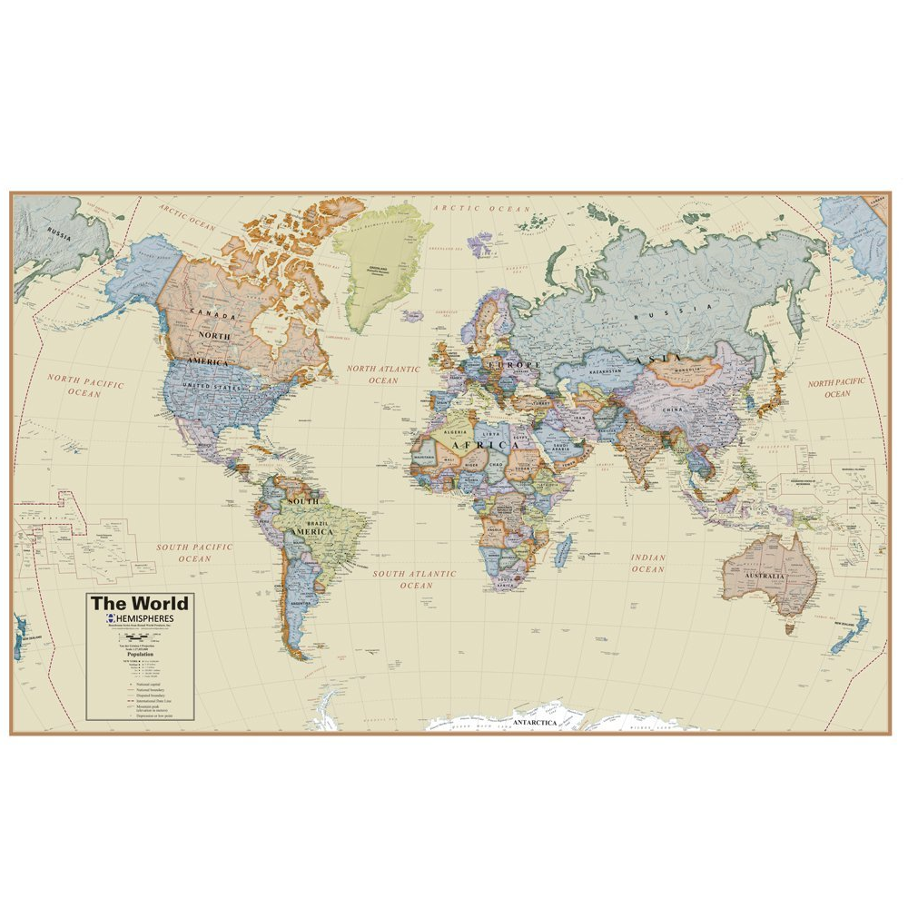 HEMISPHERES BOXED BOARDROOM LAMINATED WORLD MAP