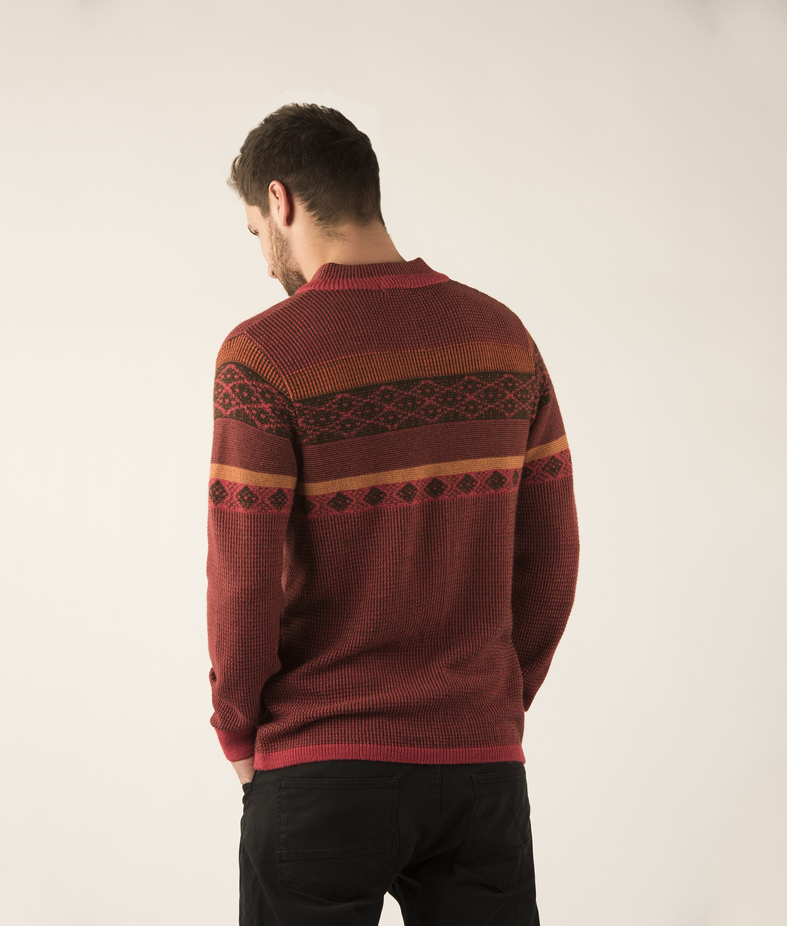SEED STITCH MOCK NECK PULLOVER WITH ZIPPER C002