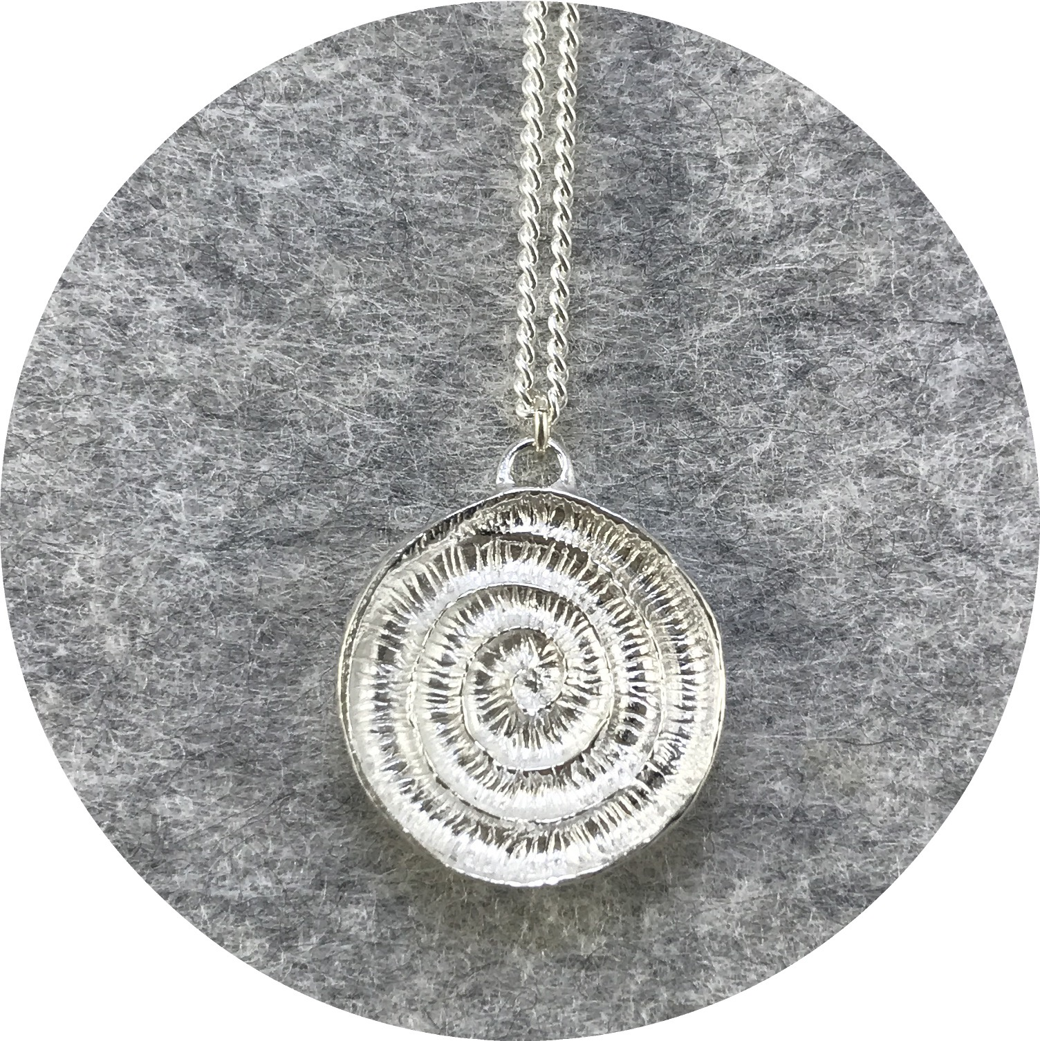 Abby Seymour- Ammonite Amulet Necklace. Sterling Silver.