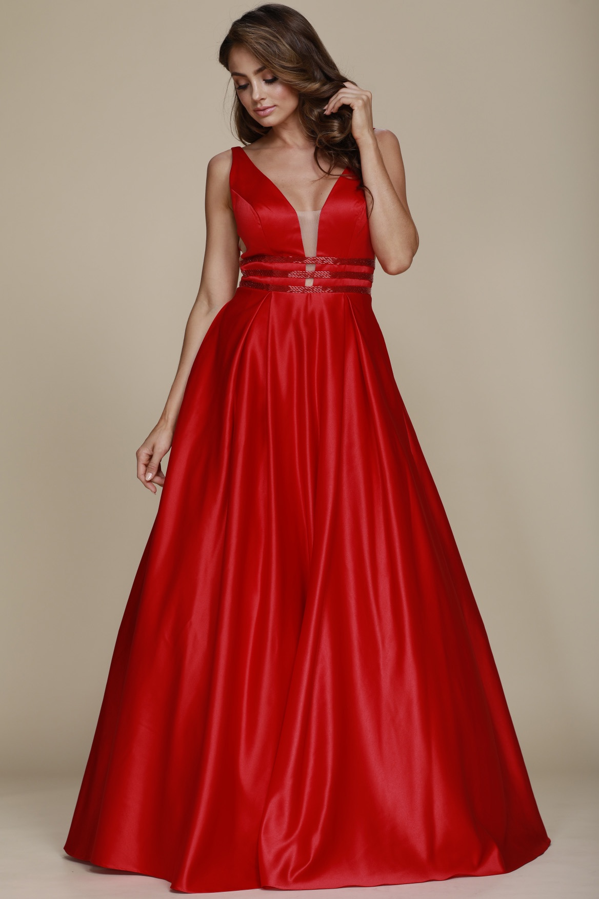 Red Deep V-Neck Gown | Prom Dresses | Barbara\'s Boutique