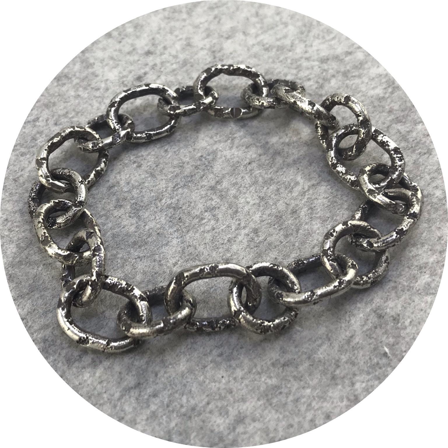 Albert Tse - Crater Link II Oxidised Sterling Silver Bracelet