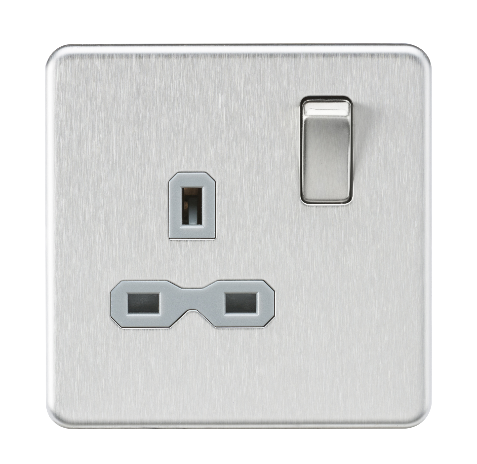 Screwless 13A 1G DP switched socket - Brushed chrome with grey insert