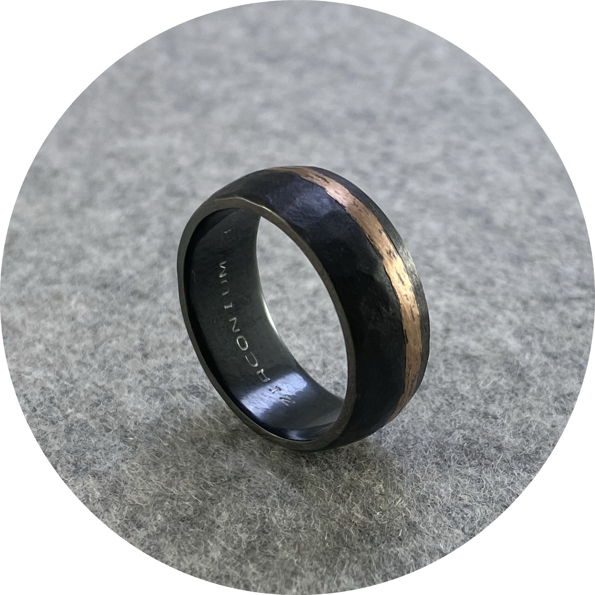 Brendan Cunningham - 'Hammered Zirconium with Rose Gold Inlay' R