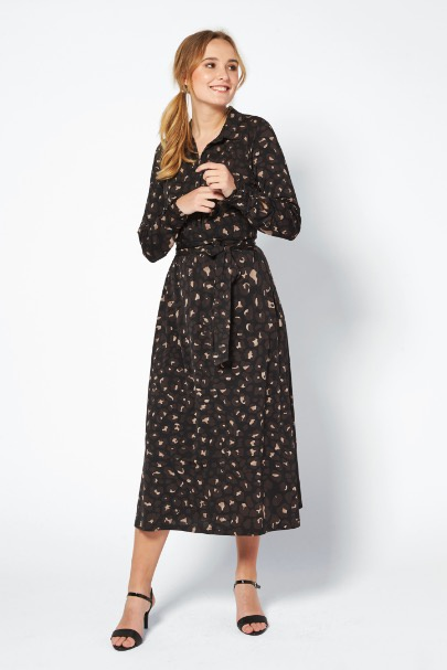 Ilse Jacobsen Dress Camo Print Black