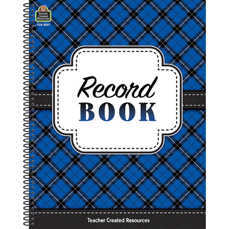 X TCR 8297 RECORD BOOK BLUE PLAID