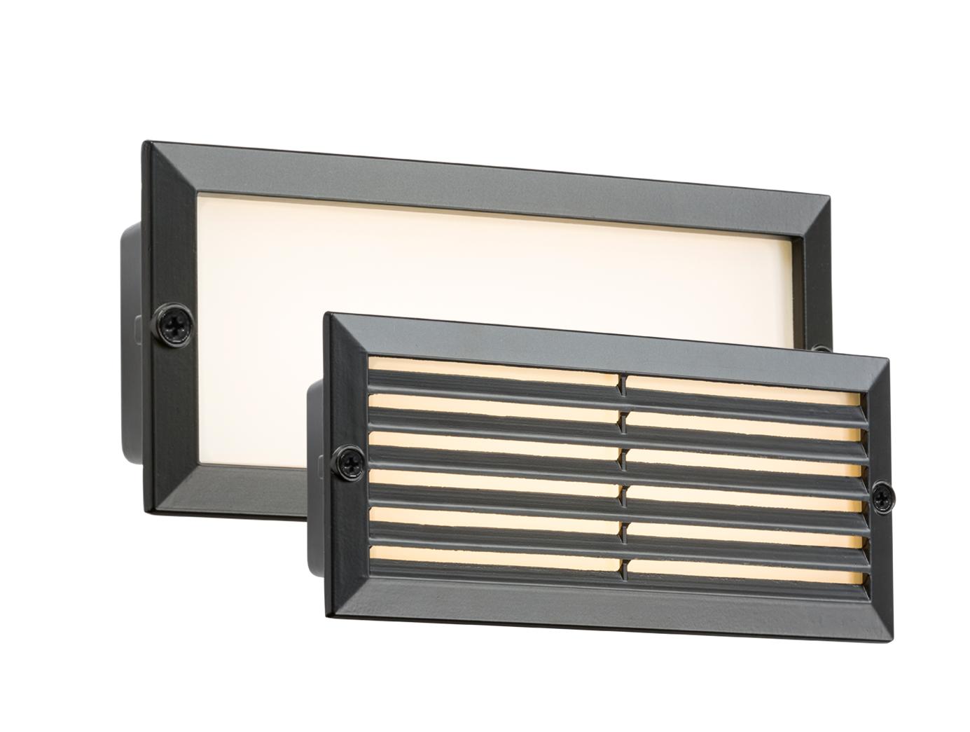 230V IP54 5W WHITE LED BRICK LIGHT - BLACK FASCIA