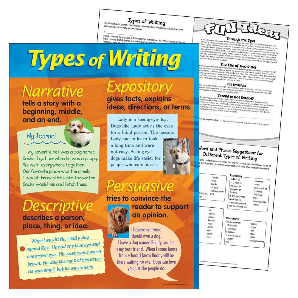 T 38128 TYPES OF WRITING CHART