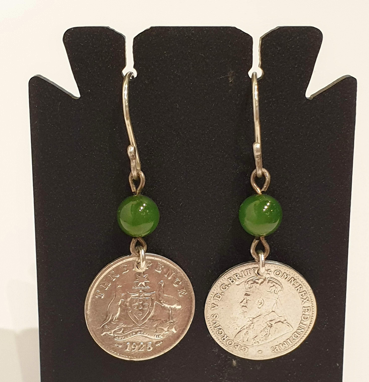 Genuine 1925 Threepence and jade bead earrings