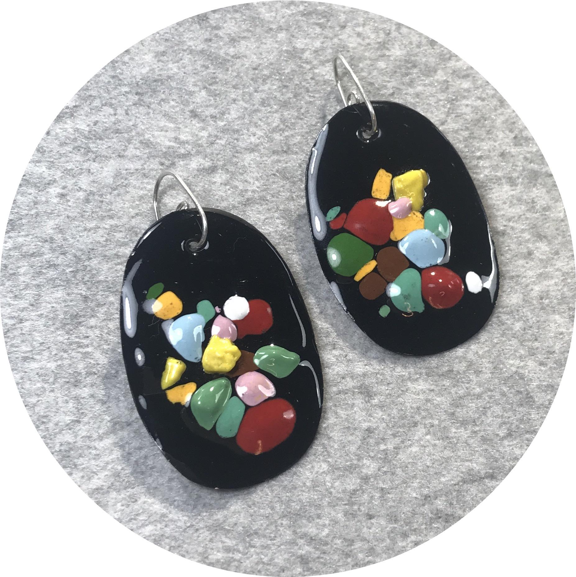 Jenna O'Brien - Medium Queenie Earrings in Black enamel with colourful flecks