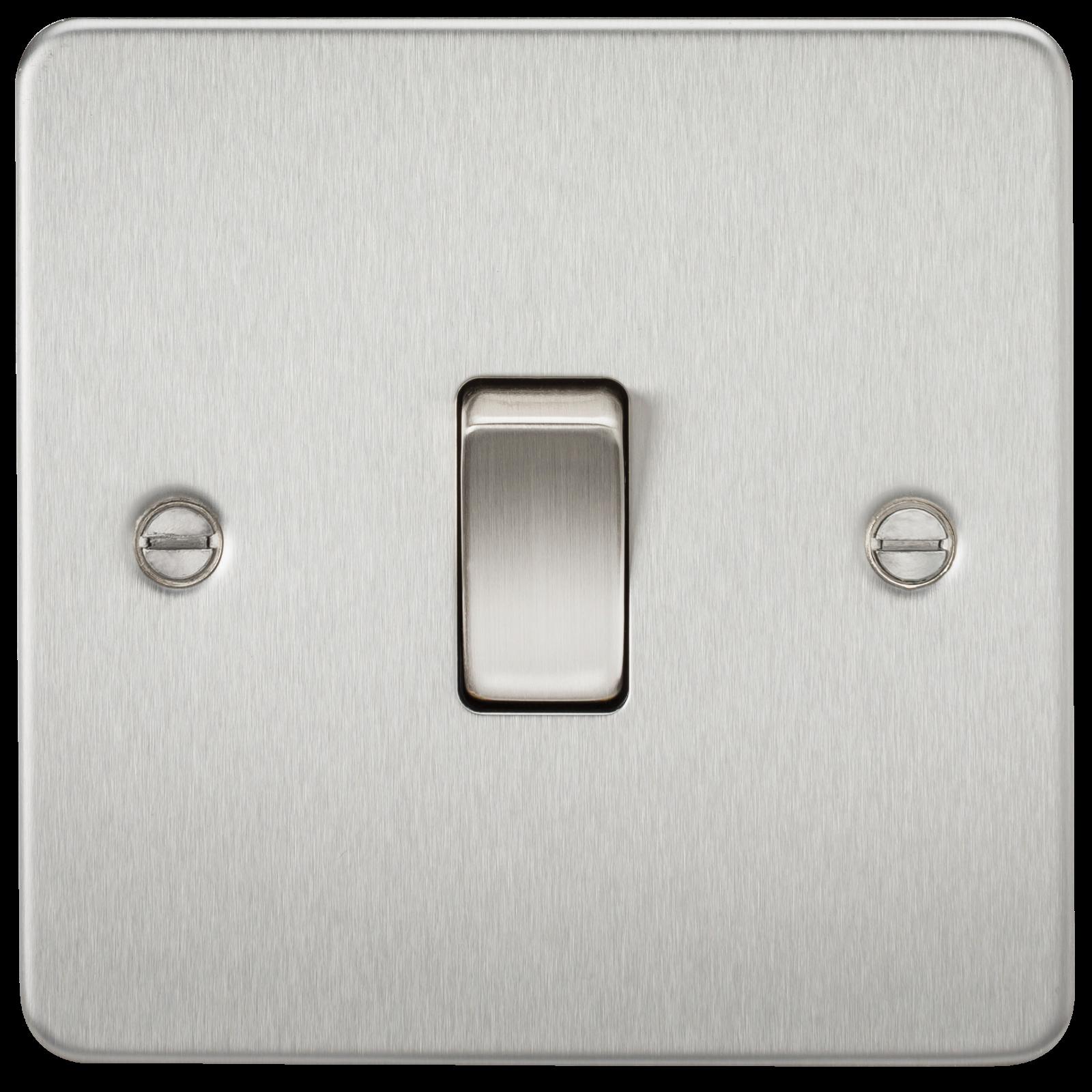 Flat Plate 10a 1g 2 Way Switch Brushed Chrome Wimbledon Lighting For Light