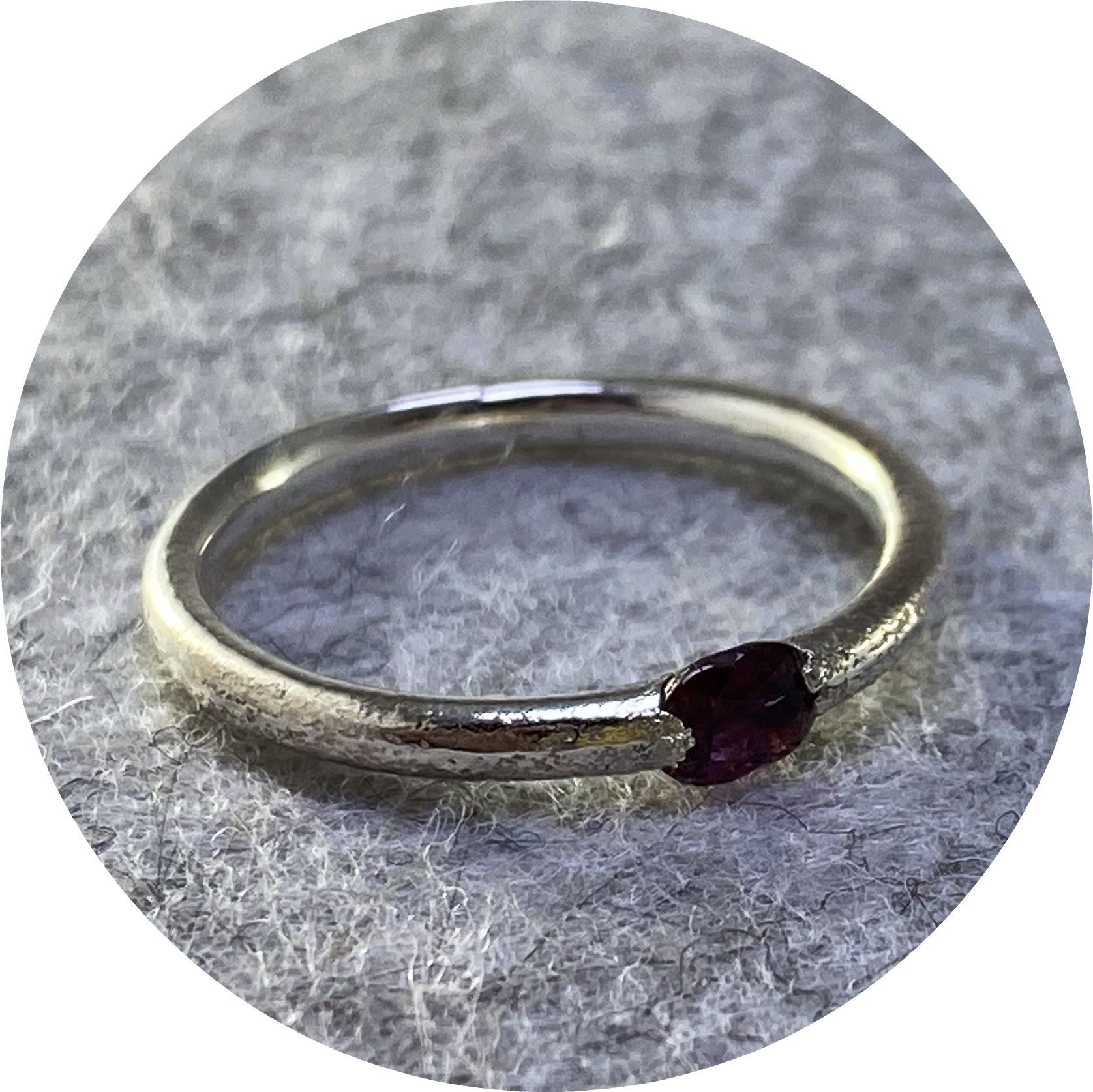 Kirra-Lea Caynes- Ruby ring with stone cast in place into sterling silver. size N