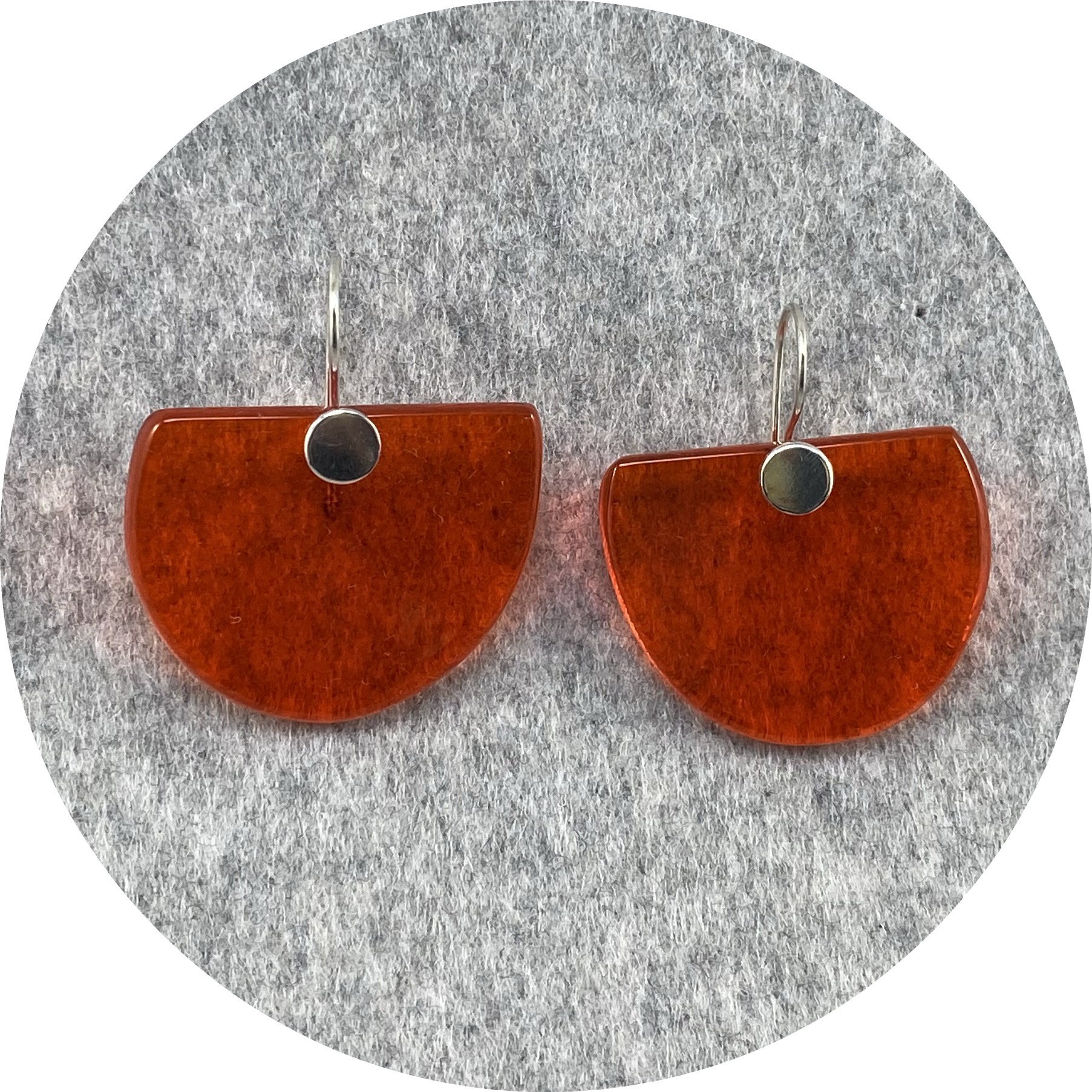 Alight Glass - Orange Half Circle Earrings, Glass, Sterling Silver