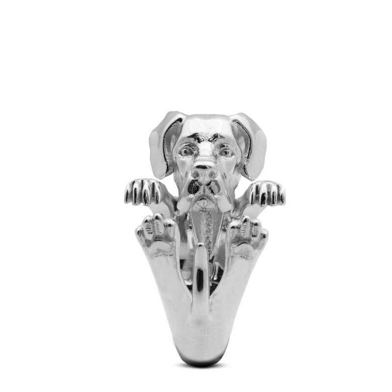 Great Dane Sterling Silver Hug Ring