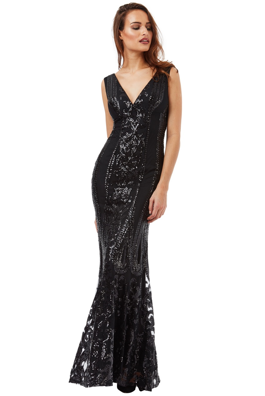 Floor Length Gown - Black Sequined Maxi Dress - Stevie Coleman Clothing