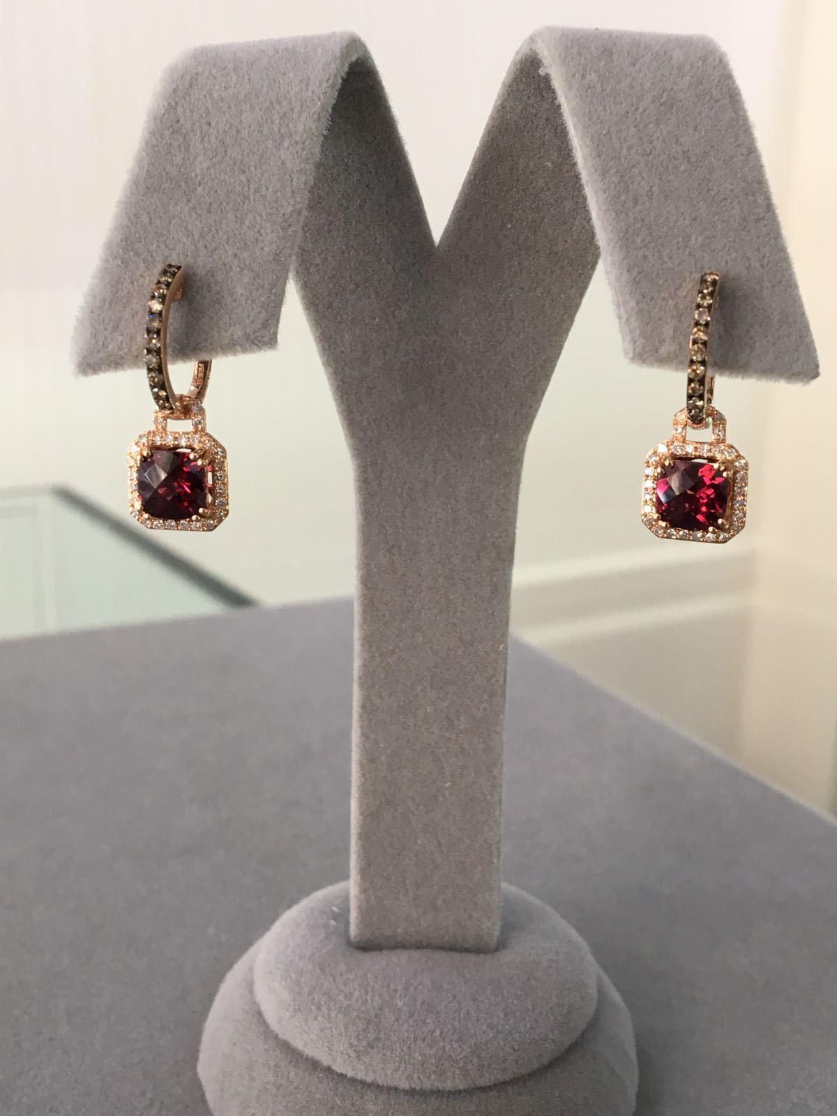 Rose Gold Diamond, Brown Diamond & Rhodolite Earrings