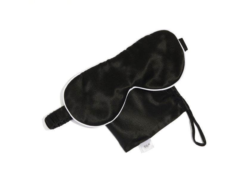 PURE SILK TRAVEL EYE MASK - BLACK PIPED WITH ARCTIC WHITE