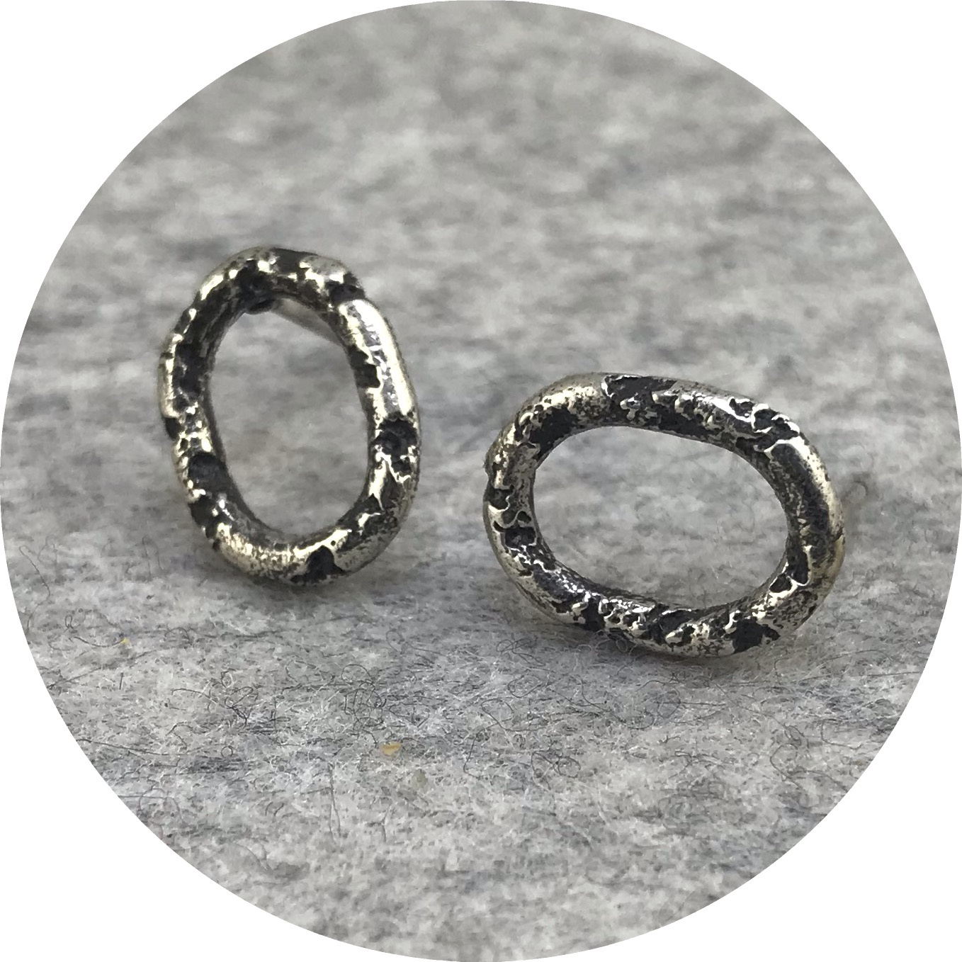 Albert Tse - Crater Small Oval Oxidised Sterling Silver Stud Earrings
