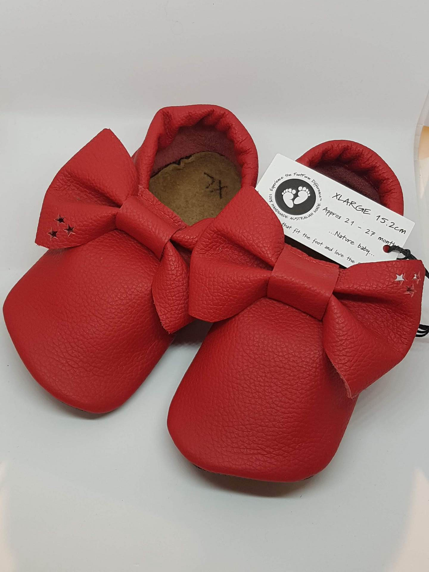 Red Leather Bow Moccasins - Large - fits approx15-21 months