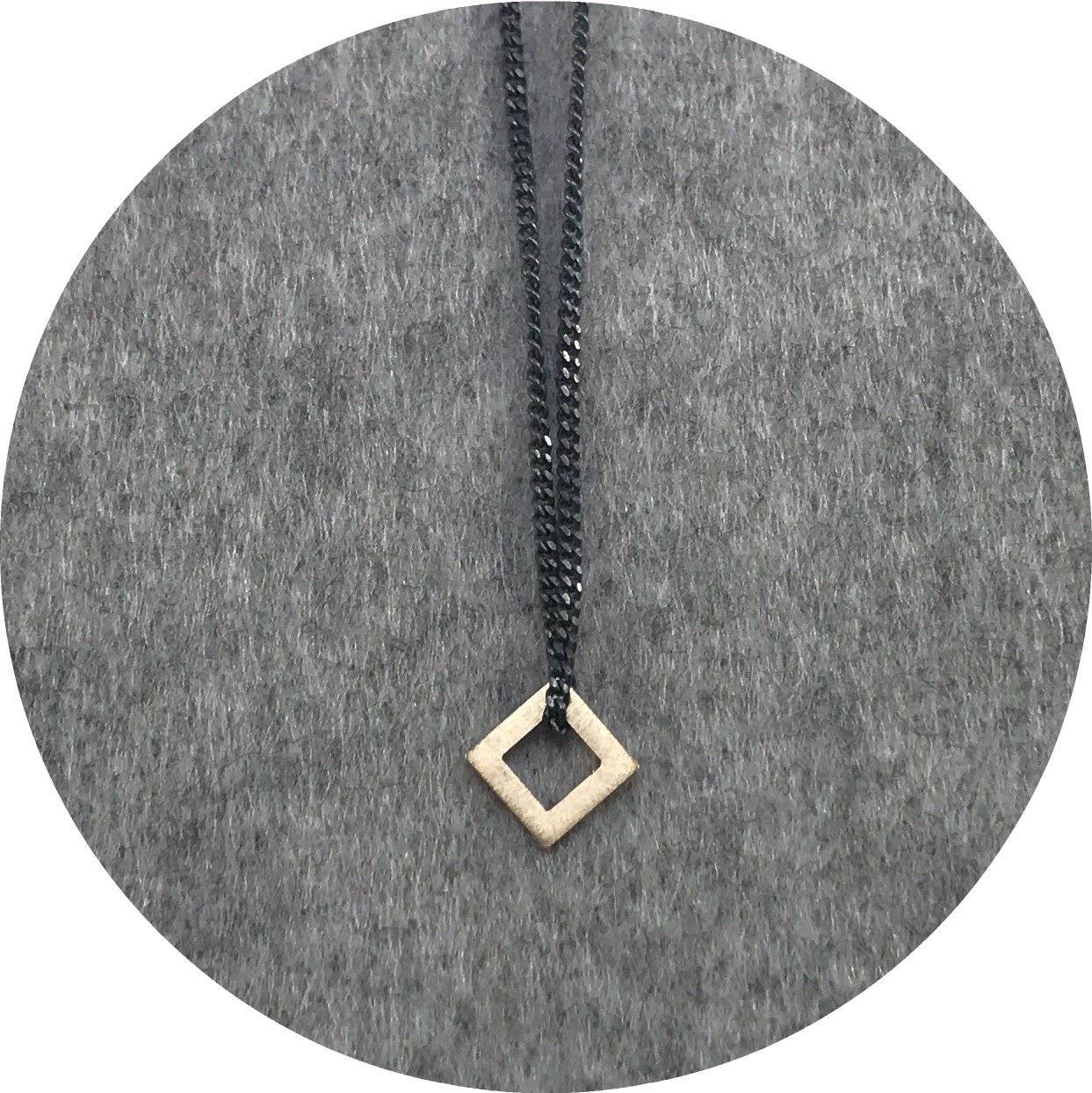 Cass Partington- Square Tab Pendant. 18ct yellow gold on 75cm oxidised sterling;ing silver chain.