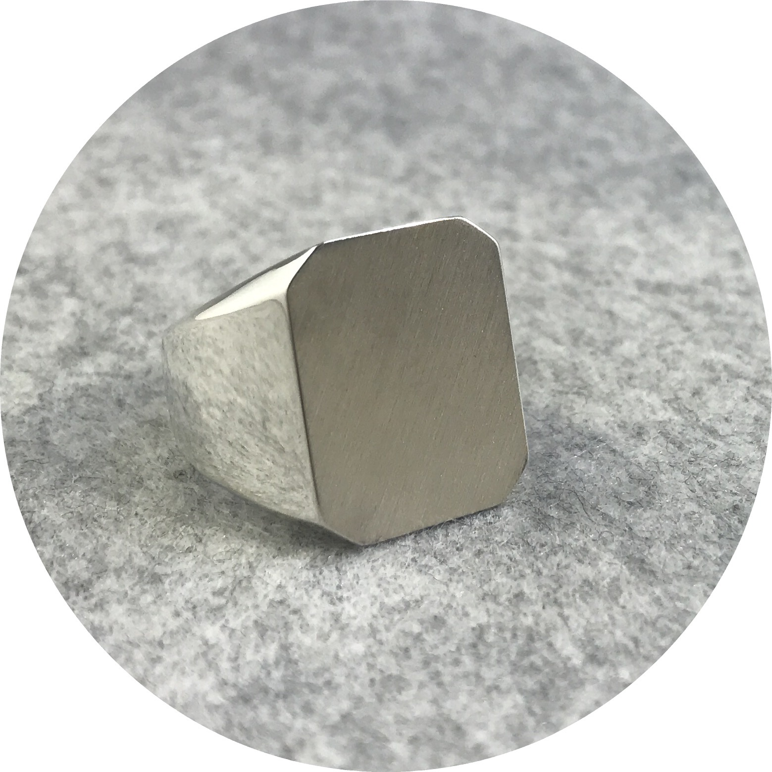 Fin Mahon- Octagonal flat top signet ring. Solid sterling silver. size Q.5