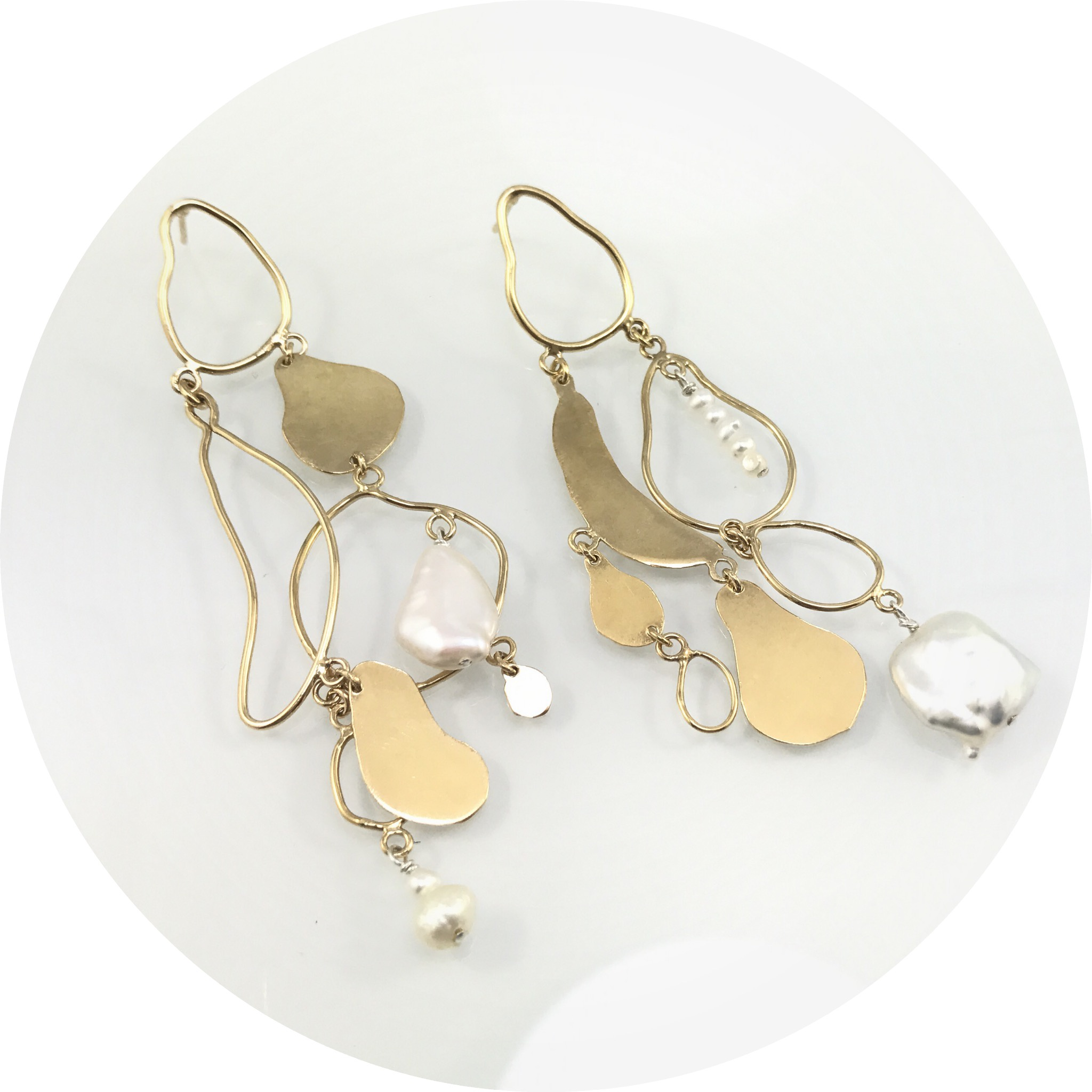 Ada Hodgson - Memories of Mission Beach 1, gold plated sterling silver and fresh water pearl drop earrings